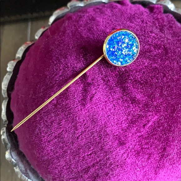 Custom blue druzy pins